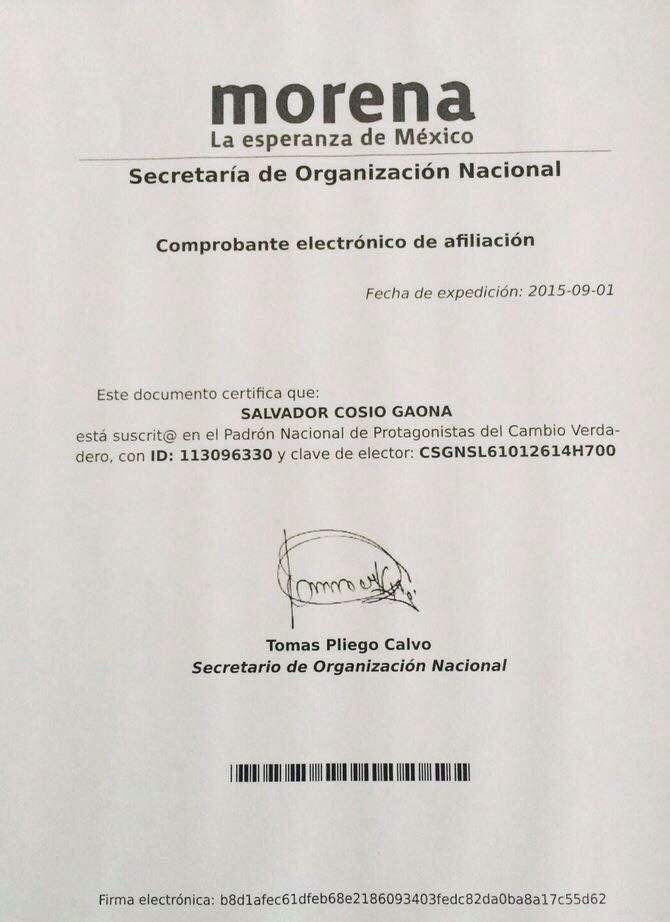 Comprobante del registro como militante de Morena de Salvador Cosío Gaona
