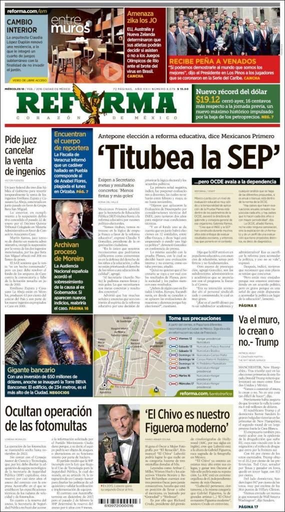 Portada del diario Reforma