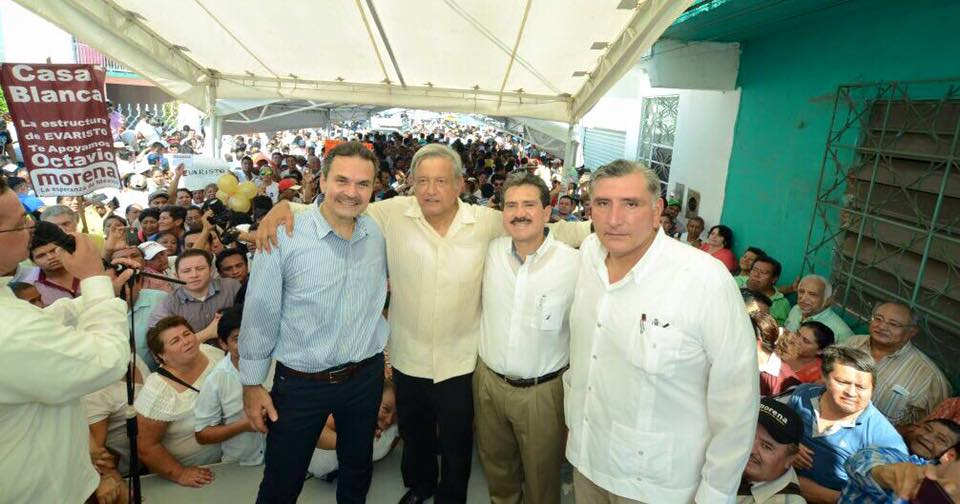 Octavio Romero Oropeza, López Obrador, Evaristo Hernández y Adán Augusto López. Foto: Facebook