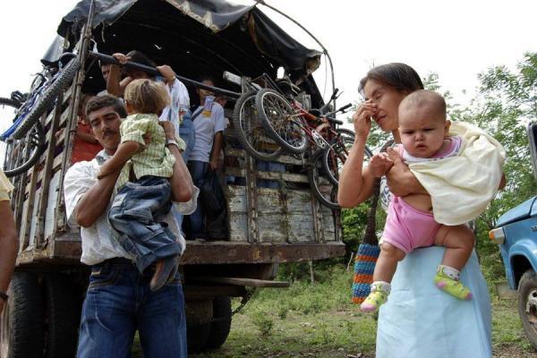Víctimas de desplazamiento forzoso en Colombia.