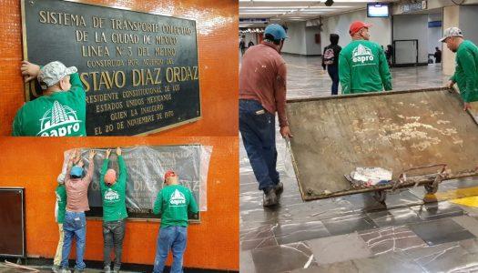 Adiós al asesino del 68: retiran placas de Díaz Ordaz en el Metro