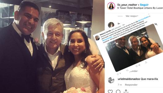 Se casaron y les tocó (de casualidad) que AMLO fuera a su boda