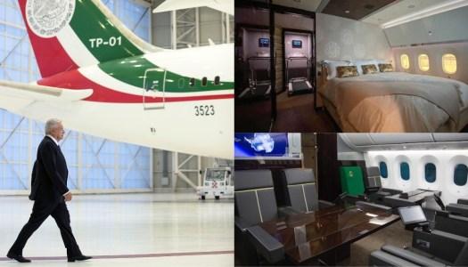 AMLO exhibe por dentro el faraónico avión presidencial que compró el PRIAN