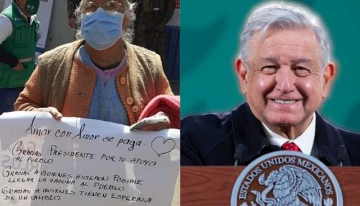 Abuelita se vuelve viral al agradecer a AMLO por la vacuna