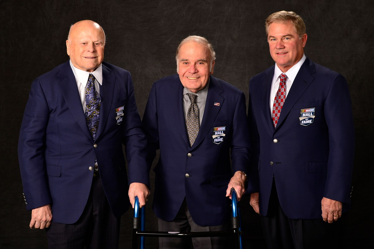 Portrait of the 2016 Nascar Hall of Fame Inductees, Bruton Smith, Jerry Cook and Terry Labonte following the induction ceremony at The NASCAR Hall of Fame, Saturday, Jan. 23, 2016, in Charlotte, NC. (Scott K Brown/Pixel Factory) MANDATORY CREDIT