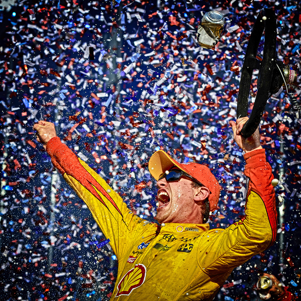 DAYTONA BEACH, FL - FEBRUARY 22:  (EDITORS NOTE: Image has been processed using digital filters) Joey Logano, driver of the #22 Shell Pennzoil Ford, celebrates in victory lane after winning the NASCAR Sprint Cup Series 57th Annual Daytona 500 at Daytona International Speedway on February 22, 2015 in Daytona Beach, Florida.  (Photo by Jared C. Tilton/Getty Images)
