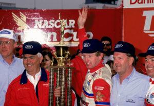 1 Jan 1993:  Team owner Junior Johnson, left, holds up the winners trophy with driver Bill Elliott after winning the race in Darlington, South Carolina.  Mandatory Credit: Bill Hall/ALLSPORT