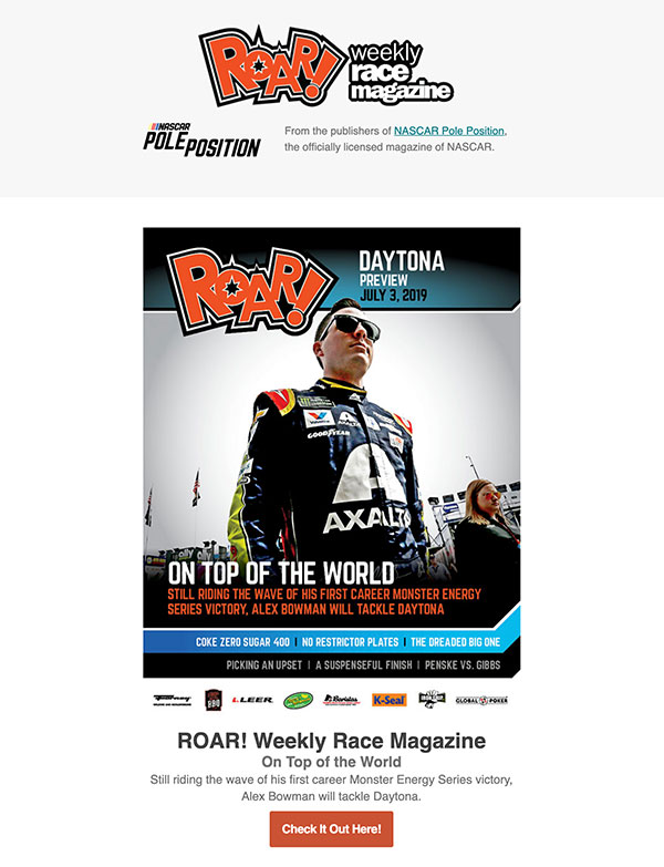 NASCAR Pole Position Out of the Groove Email Campaigns