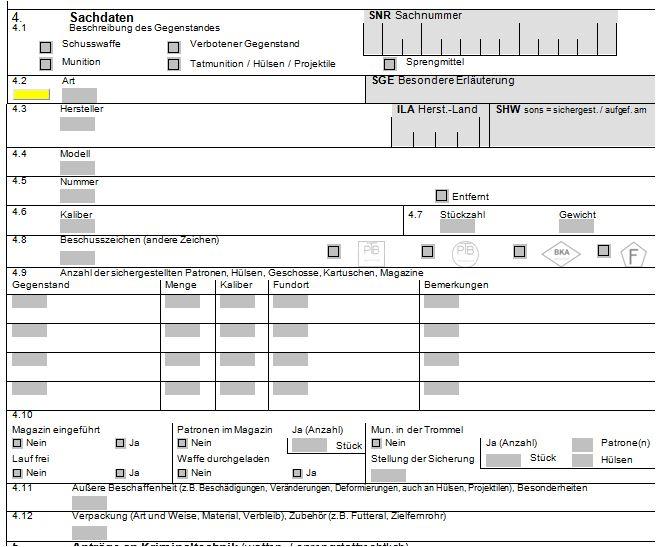 Auszug aus dem Formular zur Erfassung der Details über Waffen, Munition, Sprengstoffe, etc.