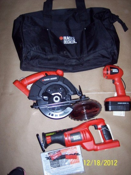 Black and decker bag with black and decker tools