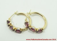 Police Auctions Canada - 14K Yellow Gold & Amethyst Hoop ...