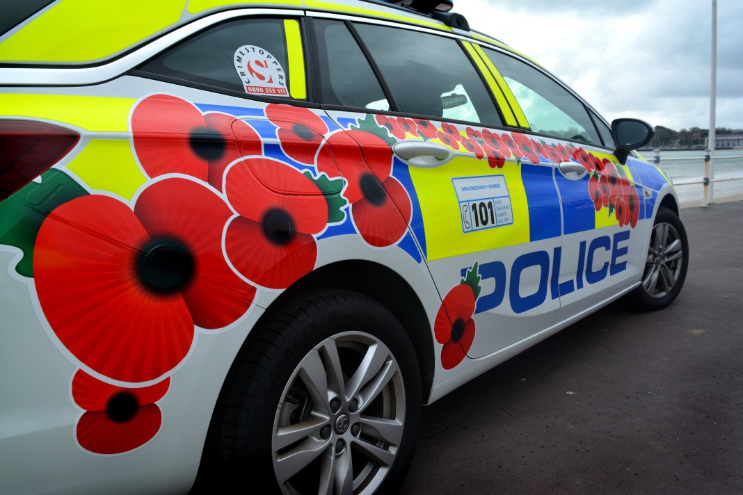 Dorset Police has decorated a police car with red poppies to support the Royal British Legion 3