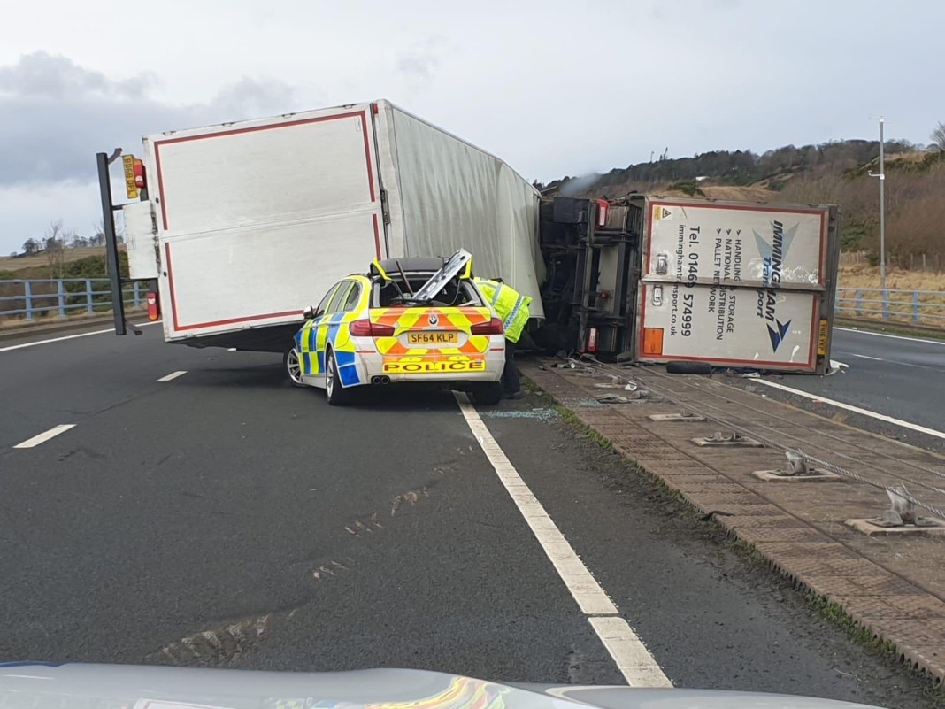 Police car crushed responding to incident on A1 in Scotland 3