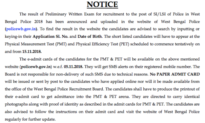 West Bengal Police SI/LSI Physical Date