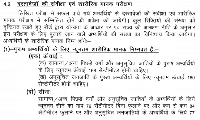 UP Police Physical Details