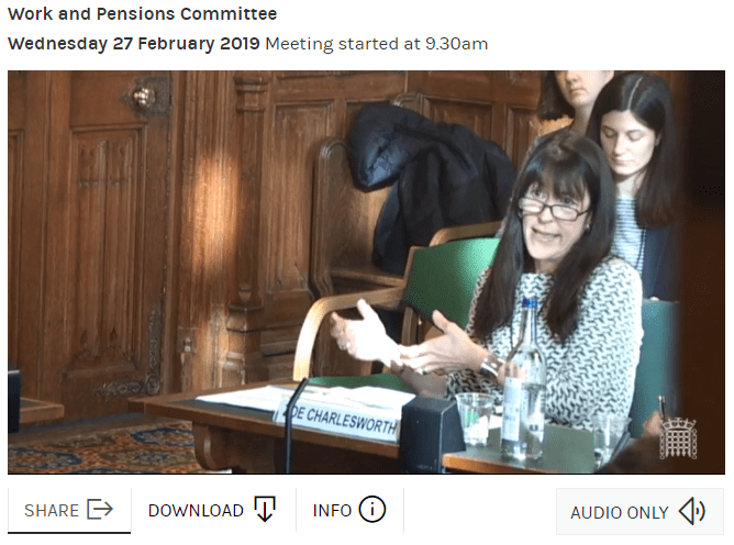 Zoe Charlesworth, Policy in Practice, at the Work and Pensions Committee evidence session on Universal Credit: 'natural' migration on Wednesday 27 February 2019