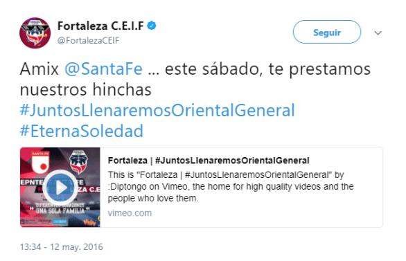 Trino de @FortalezaCEIF DICE: Amix @SantaFe ... este sábado, te prestamos nuestros hinchas #JuntosLlenaremosOrientalGeneral #EternaSoledad