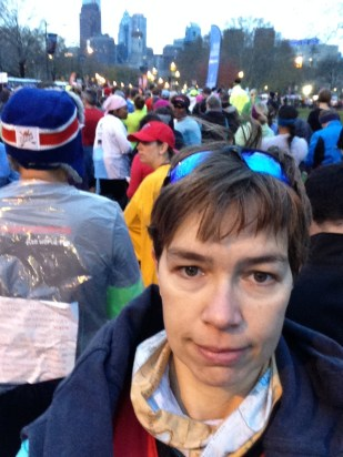 Lining up for the start at Philly Half Mara