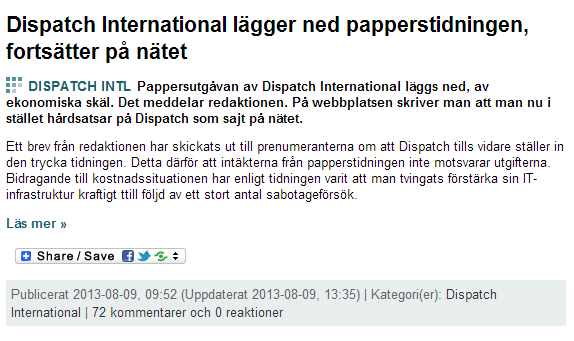 Dispatch International läggs ner