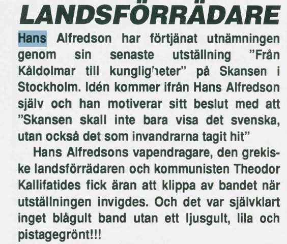 Sverigedemokraterna och Hasse Alfredsson
