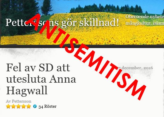 Petterssons blogg försvarar antisemiten Anna Hagwall