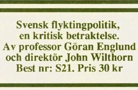 Flyktingpolitik Sverigedemokraterna Göran Englund