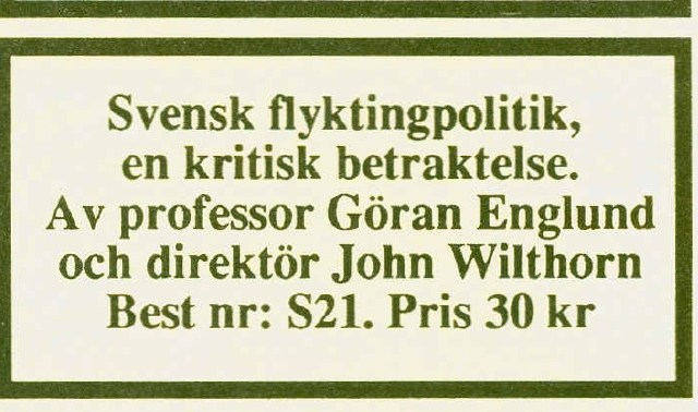Sverigedemokraterna och 90-talets bokförsäljning: Djupdykning del 5 Svensk flyktingpolitik – En kritisk betraktelse