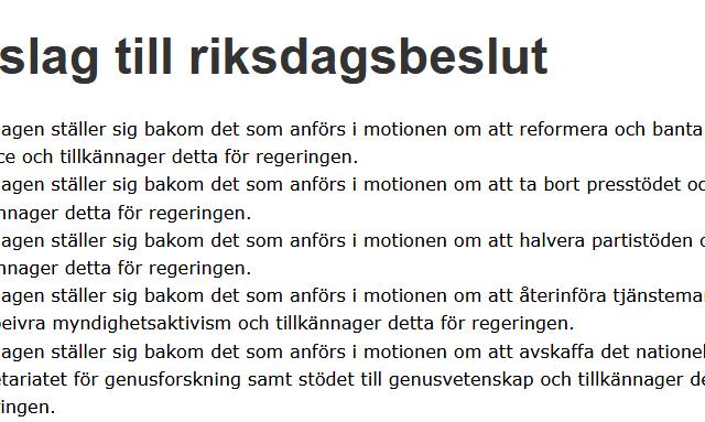 Sverigedemokraternas motion: Avdemokratisering, politisk styrning och andra galenskaper