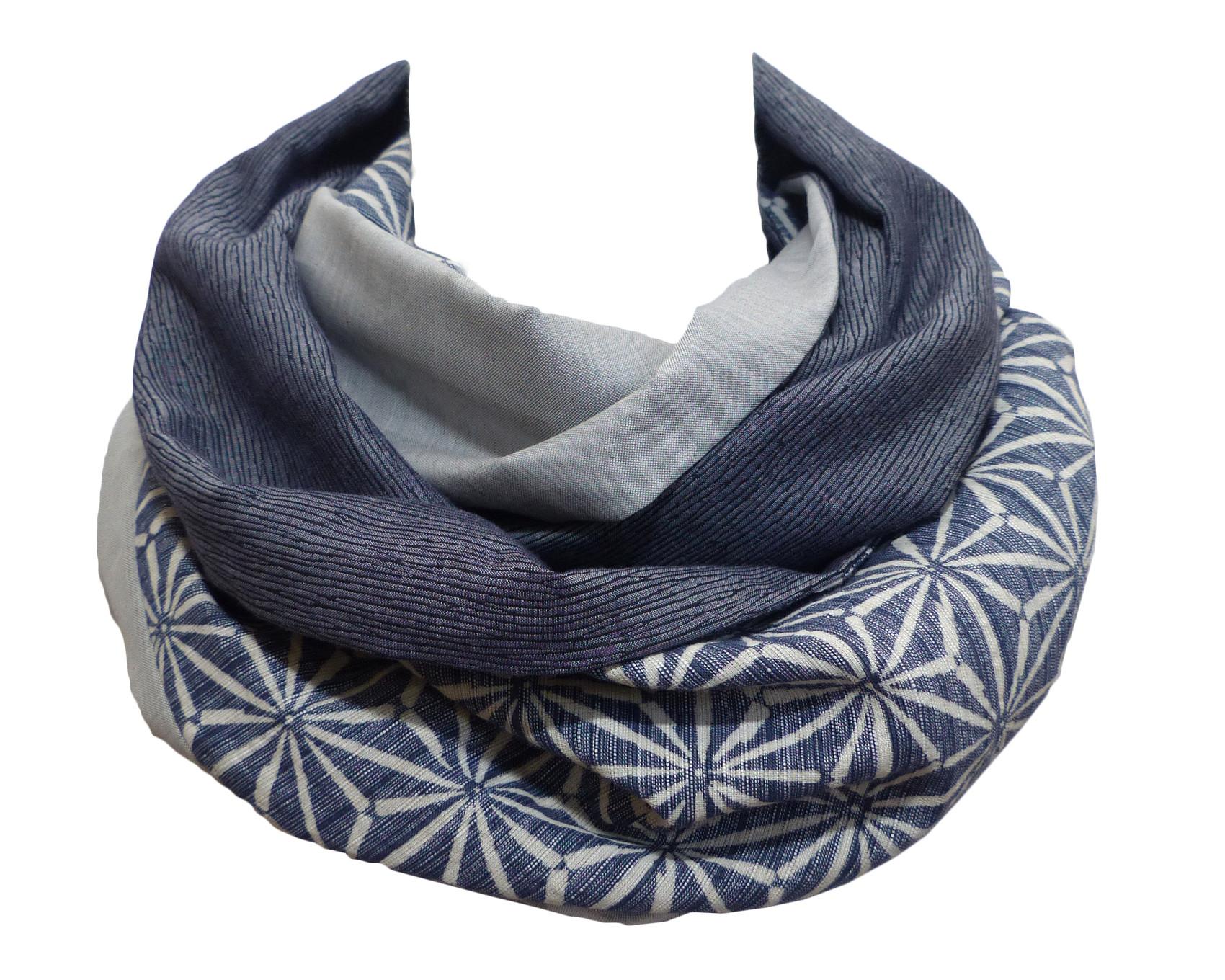 Echarpe Snood Bleu Gris, 2 Unis   Motif – Polina Couture 5f95b036fd5