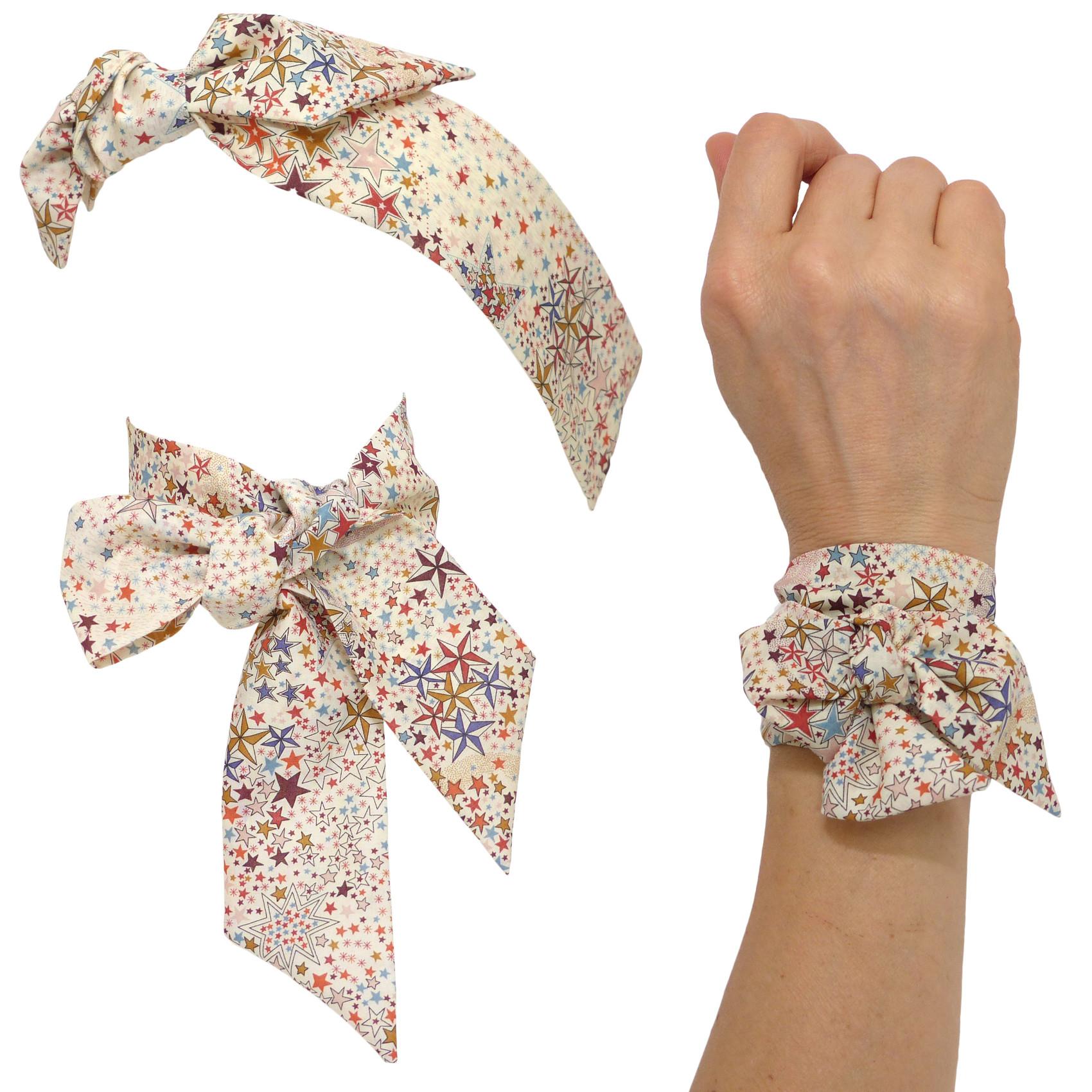 foulard   bandeau cheveux à nouer femme   fille, tissu Liberty, motif  étoiles Adelajda b552ddde353
