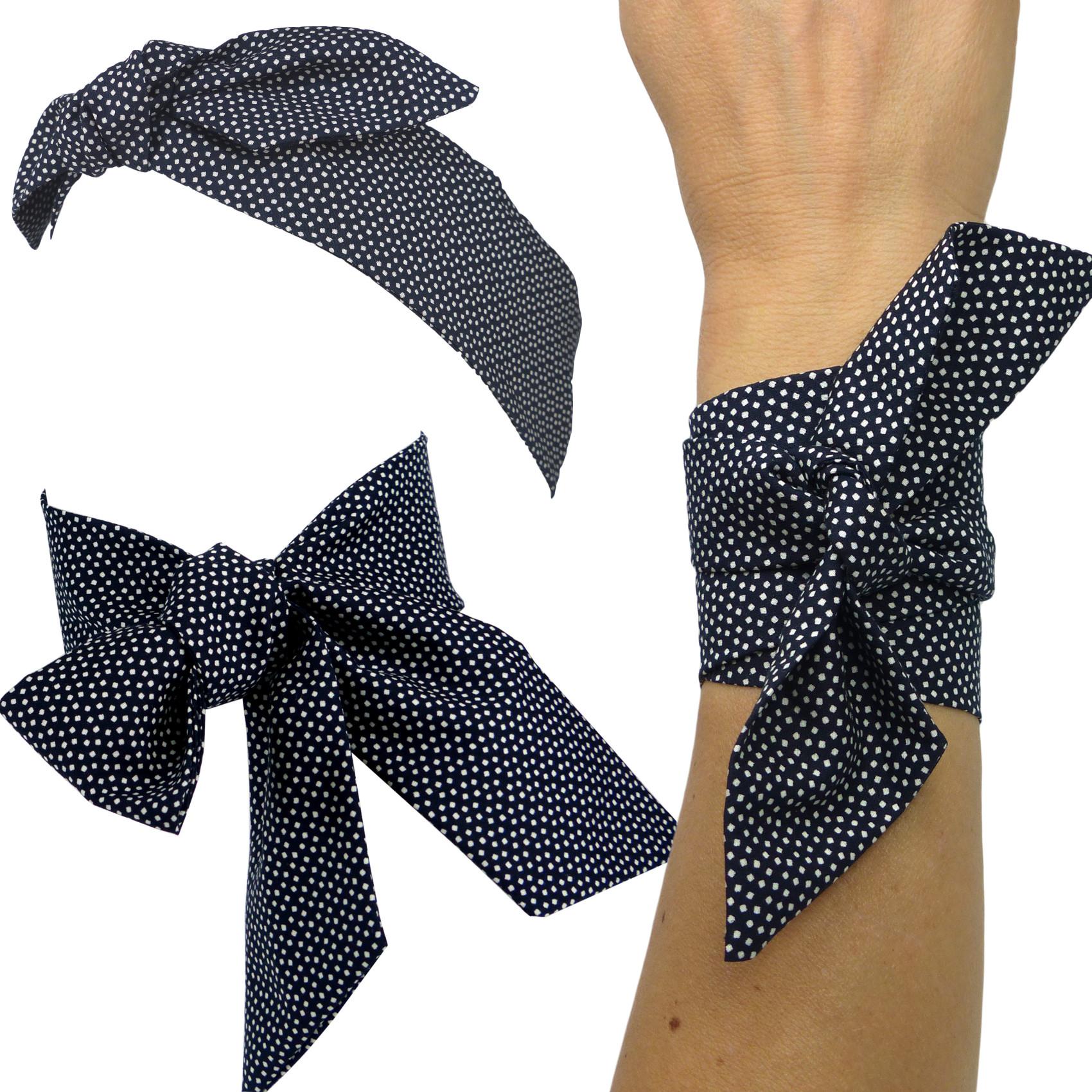 41316c3cffc8 foulard bandeau à cheveux à nouer bleu nuit à petits pois blancs, serre-tête