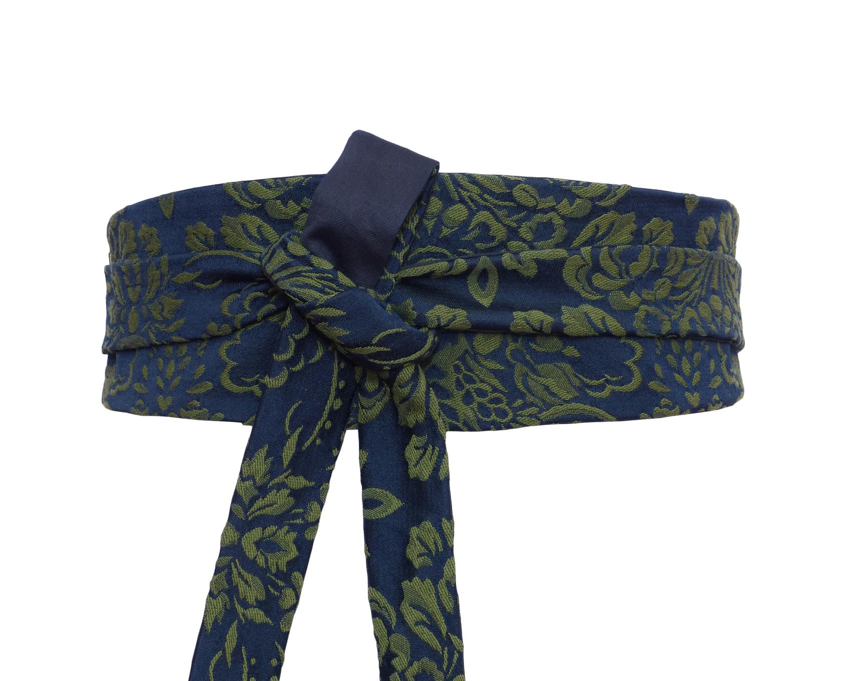 58914fa1beea Ceinture à nouer obi, Brocart Soie Bleu Marine   Vert – Polina Couture