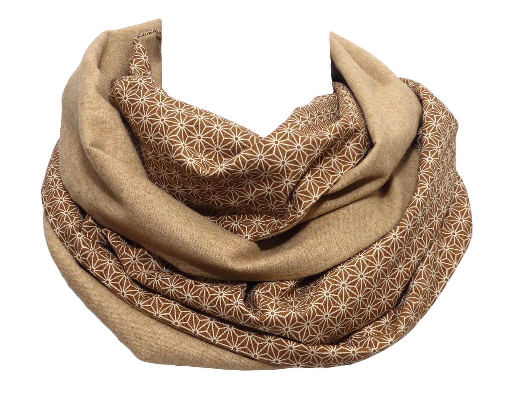 echarpe beige en laine et coton, côté uni et côté avec motif étoiles  japonais 4a3710e94ad