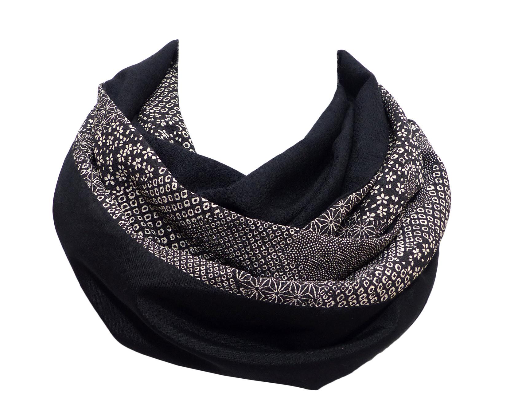 Echarpe Tube Noire, Laine française et Tissu Japonais – Polina Couture 6aead0307dd