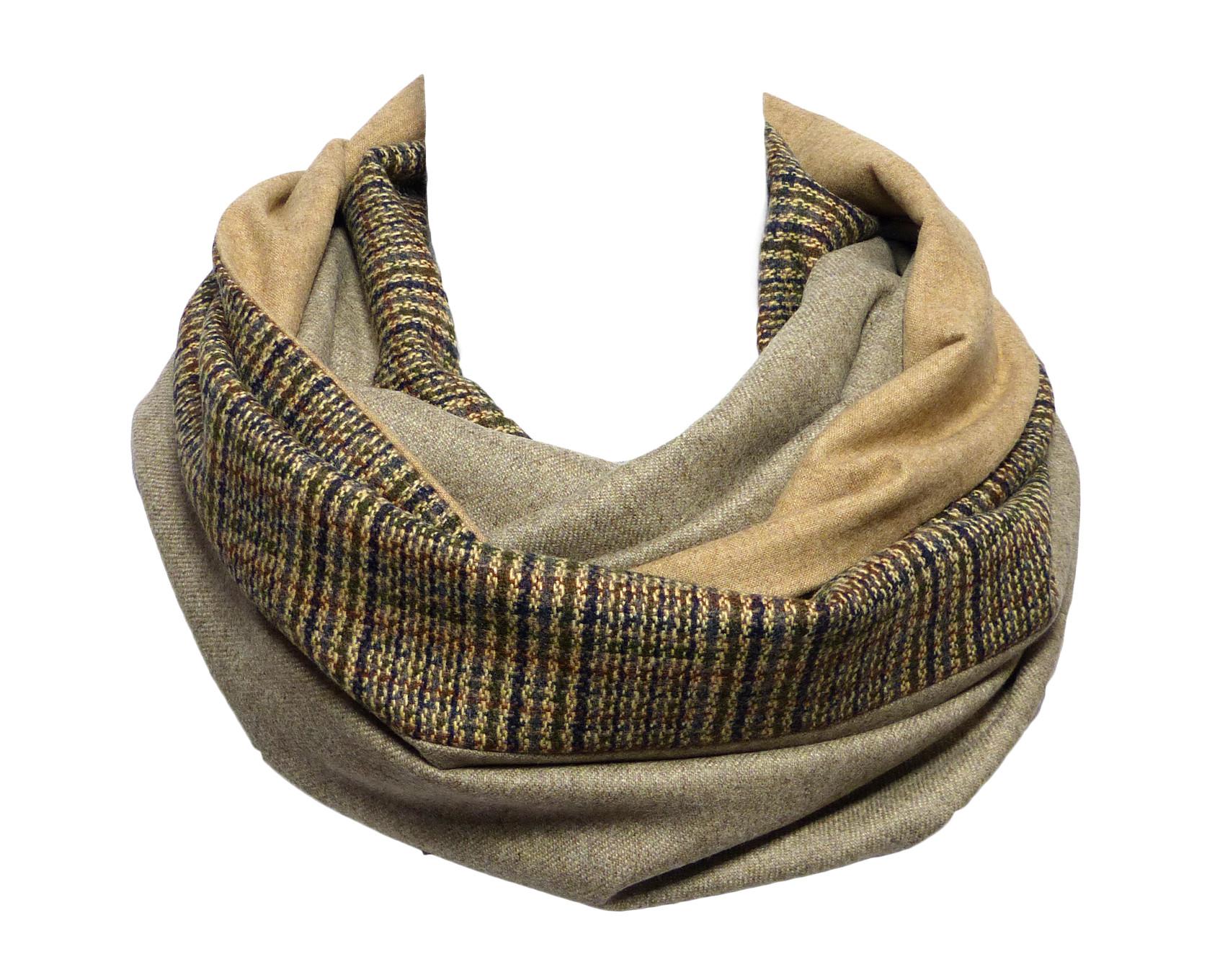 Echarpe Tube   Snood en laine, tweed marron   beige, tissus unis beige et e7fb58065d7
