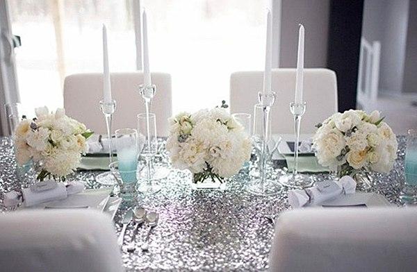 Скатерть серебряная на свадьбу