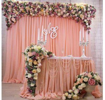 Оформление свадебного зала в персиковом цвете цена