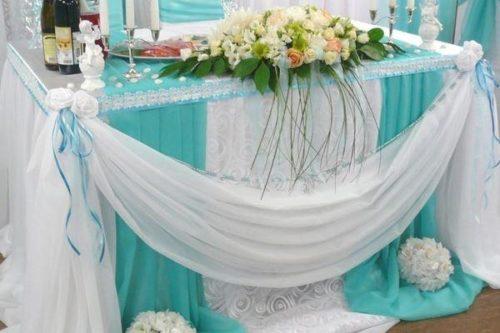 Свадебный стол в мятном цвете
