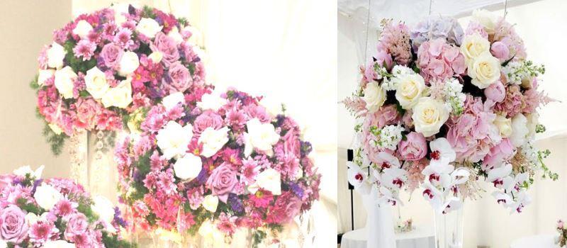 Декоративные цветы на гостевые свадебные столы