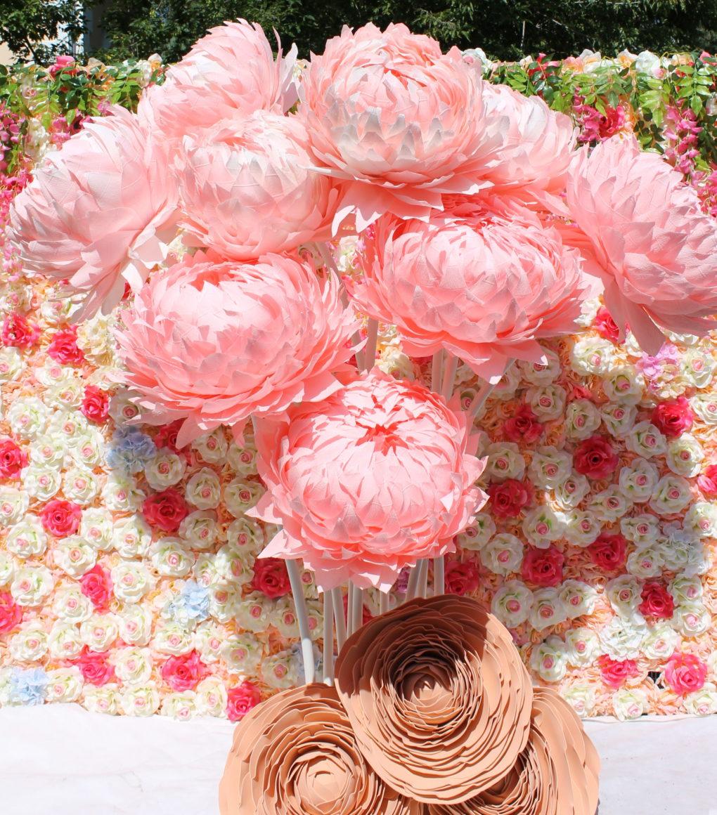 Пион гофрированная бумага розовый