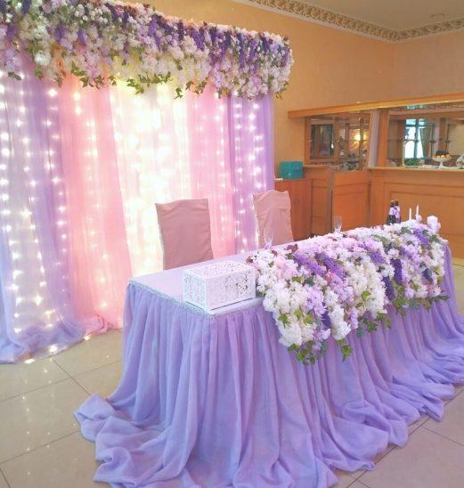 Украшение зала на свадьбу в лавандовом цвете