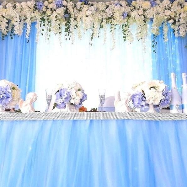 Президиум на свадьбу в голубом цвете