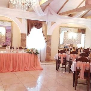 Оформление персиковой свадьбы тканью