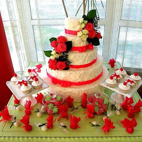 Кэнди бар на свадьбу в красном