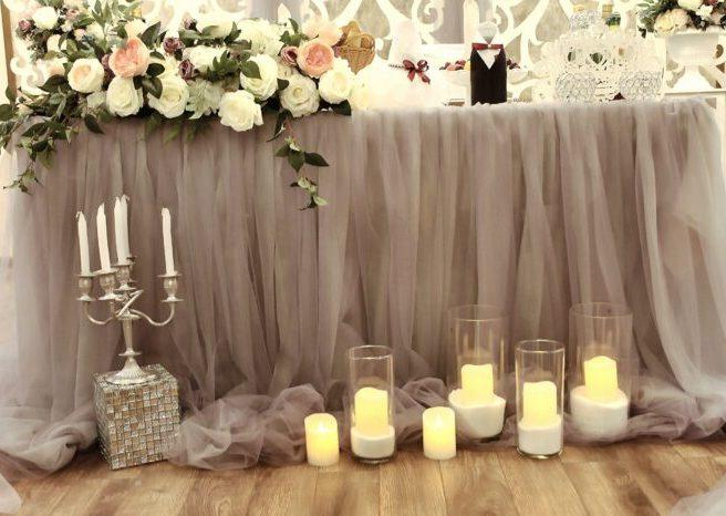Оформление зала на свадьбу в цвете пудровая роза