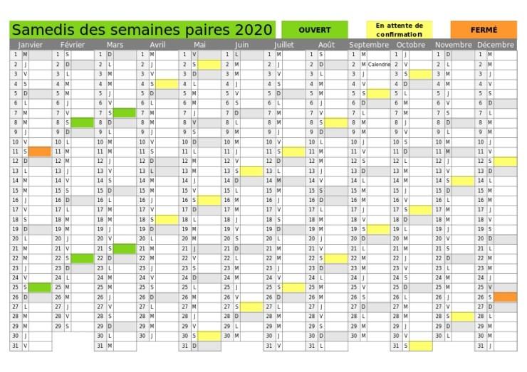 Calendrier des samedis paires de l'année 2020