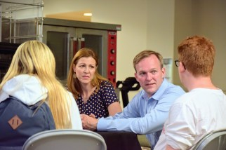 Democratic Congressional Candidate for UT-04, Ben McAdams meets with March For Our Lives activists Matt Deitsch and Jaclyn Corin.