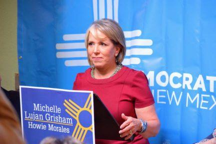 Democratic gubernatorial candidate Michelle Lujan Grisham at the podium.