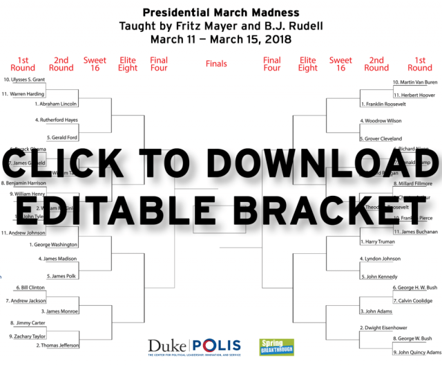 Do You Fill Out A March Madness Bracket Every Year And Do You Have At Least A Passing Interest In U S Presidential History