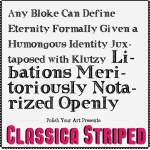 Striped clasica font preview